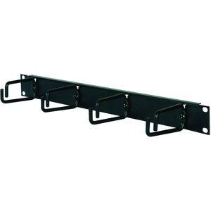 Organizador horizontal de cables modelo AR8425A con rack de altura de 1U. Ayuda a eliminar la tensión del cable y mantener un diseño ordenado