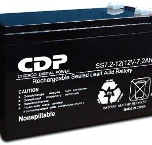 Batería interna marca CDP con capacidad de 12V, 7 AMP B-12/7. Corriente máxima de descarga de 72A en 5 segundos, capacidad de 72 Ah.