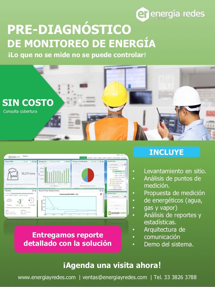 Lideres en soluciones energéticas, prediagnóstico de monitoreo eléctrico gratis, lo que no se mide no se puede controlar, consulte cobertura sin costo.