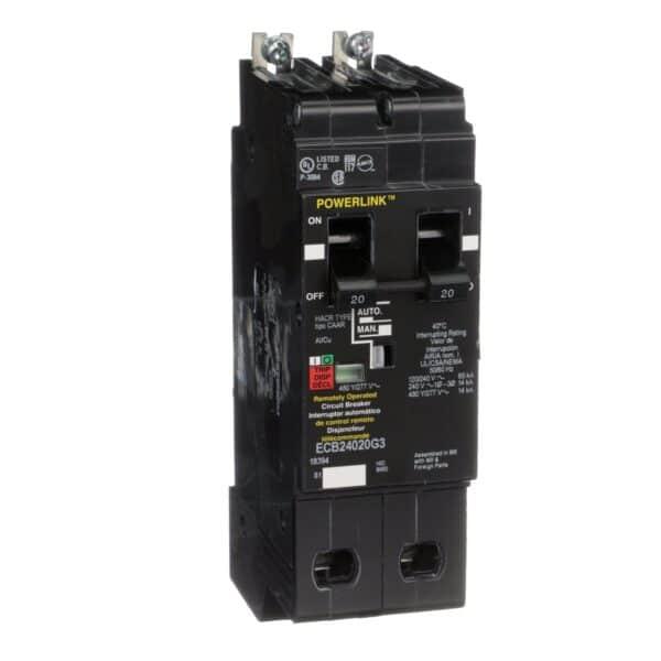 Interruptor Circuito 20AM, número de serie ECB24020G3. Tecnología de unidad de disparo Termomagnético, estándar, LI. Corriente nominal de línea 20 A