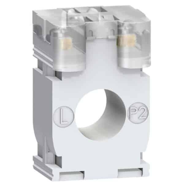 Transformador de corriente DIN 100/5A, número de serie METSECT5CC010. tensión asignada de empleo< 720 V CA 50/60 Hz. Ajustable en clip tipo de montaje