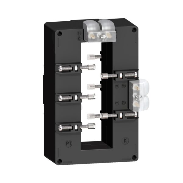 Transformador de corriente con capacidad de 1000/5A, número de serie METSECT5DB100. Tipo de montaje con tornillo de bloqueo aislado,