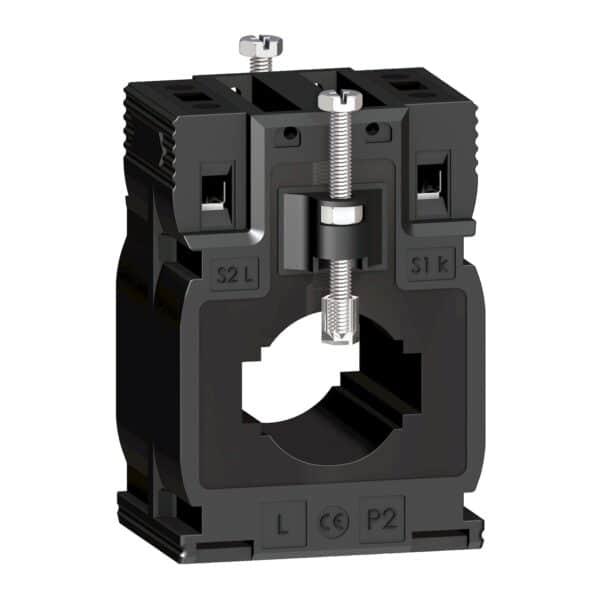 Transformador de corriente DIN 400/5Anúmero de serie METSECT5MA040. Montaje mediante tornillos, ajustable en Clip. tensión asignada de aislamiento 3 kV