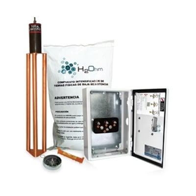 Kit Antivandalico de puesta a tierra de 45 A con Electrodo, Filtro, Acoplador y Compuesto H2Ohm. Su punto de unión a electrodos naturales permite aumentar el plano de tierras de la instalación