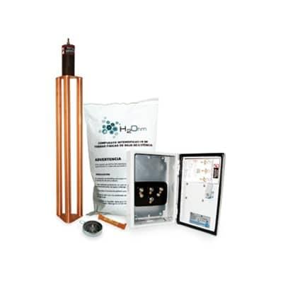 Kit de puesta a tierra de 70 A con Electrodo, Filtro, Acoplador y Compuesto H2Ohm. Se utiliza para la puesta a tierra de:SITES de cómputo, plantas industriales